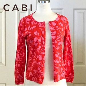 CAbi Pink and Red Cardigan Button Down Sweater
